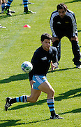 Nicolas Vergallo of Argentina passes the ball to an team mate, during an Argentina training session at university oval in Dunedin, New Zealand. IRB Rugby World Cup 2011. Monday 5 September 2011. New Zealand. Photo: Richard Hood/photosport.co.nz