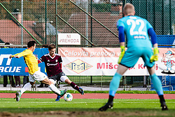 Tilen Mlakar of NK Triglav and Jaka Ihbeisheh of NK Bravoduring football match between NK Triglav Kranj and NK Bravo in 17th Round of Prva liga Telekom Slovenije 2019/20, on November 10, 2019 in Sport Park Kranj, Kranj, Slovenia. Photo Grega Valancic / Sportida