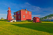 Lighthouse and lightkepper's house. Gaspé Peninsula. , La Martre, Quebec, Canada