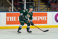 KELOWNA, BC - FEBRUARY 15: Gianni Fairbrother #24 of the Everett Silvertips looks for the pass against the Kelowna Rockets  at Prospera Place on February 15, 2019 in Kelowna, Canada. (Photo by Marissa Baecker/Getty Images)