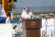 "Defence Minister, Moshe ""Bogie"" Ya'alon at the arrival of the new Israeli Navy INS Tannin (Dolphin class) submarine from Germany in Haifa on September 23 2014"
