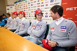 Rok Perko and Andrej Jerman at press conference of Men Alpine Ski team and sponsor Petrol, on December 8, 2010 in Petrol, Ljubljana, Slovenia. (Photo By Vid Ponikvar / Sportida.com)