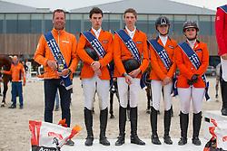 Team Netherlands, chef d'equipe, Luc Steeghs, Jens Van Grunsven, Jatno Van Erp, van de Rijt Teddy, Hoogenraat Ki, (NED) <br /> Nations Cup, second place<br /> CSIO Young Riders - Opglabbeek 2016<br /> © Hippo Foto - Dirk Caremans<br /> 27/05/16
