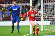 Nottingham Forest forward Jason Cummings (35) reacts after the ball bounced over him during the EFL Sky Bet Championship match between Nottingham Forest and Burton Albion at the City Ground, Nottingham, England on 21 October 2017. Photo by Jon Hobley.