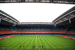 CARDIFF, WALES - Saturday, March 26, 2016: Wales players during a training session at the Millennium Stadium ahead of the International Friendly match against Ukraine. (Pic by David Rawcliffe/Propaganda)