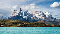 The peaks of the Cuernos del Paine seen from Lago Pehoé in Torres del Paine National Park, Chile.