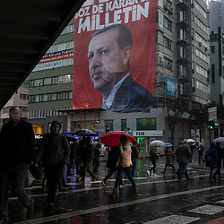 A pro-government banner supporting the Yes vote in central Istanbul, Turkey, on March 14, 2017. In the banner is Recep Tayyip Erdogan, Turkey's president.<br /> On April 16, 2017, Turkish citizens will vote on proposed changes on the constitution that could replace the current parliamentary government system with a presidential one.
