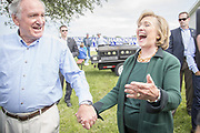 US Secretary of State Hillary Rodham Clinton is guest of honor at the annual barbeque party hosted by Iowa Senator Tom Harkin. At the party she hinted strongly that she was ready to run as Presidential candidate for the 2016 election. Here she is with Tom Harkin.