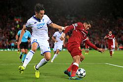 23rd August 2017 - UEFA Champions League - Play-Off (2nd Leg) - Liverpool v 1899 Hoffenheim - Roberto Firmino of Liverpool battles with Benjamin Hubner of Hoffenheim - Photo: Simon Stacpoole / Offside.