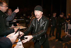 Repro Free: 24/10/2014 <br /> U2 guitarist The Edge is pictured as he and Bono arrived at the RT&Eacute; studio for the Late Late Show. Picture Andres Poveda