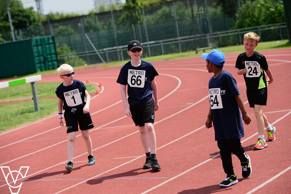 Metro Blind Sport's 2017 Athletics Open held at Mile End Stadium.  100m.  From left, Harry Hughes, Eoin Quigley, Ragul Sivaseelan and Ben Reynolds<br /> <br /> Picture: Chris Vaughan Photography for Metro Blind Sport<br /> Date: June 17, 2017