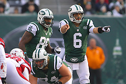Dec 2, 2012; East Rutherford, NJ, USA; New York Jets quarterback Mark Sanchez (6) changes a play during the first half of their game against the Arizona Cardinals at MetLIfe Stadium.