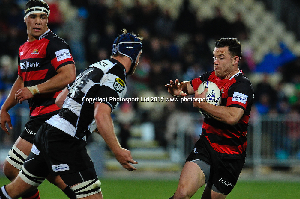 Ryan Crotty of Canterbury fends off Mark Abbott of Hawkes Bay   during the ITM Cup rugby match, Canterbury v Hawke's Bay, at AMI Stadium, Christchurch, on the 12th September 2015. Copyright Photo: John Davidson / www.photosport.nz