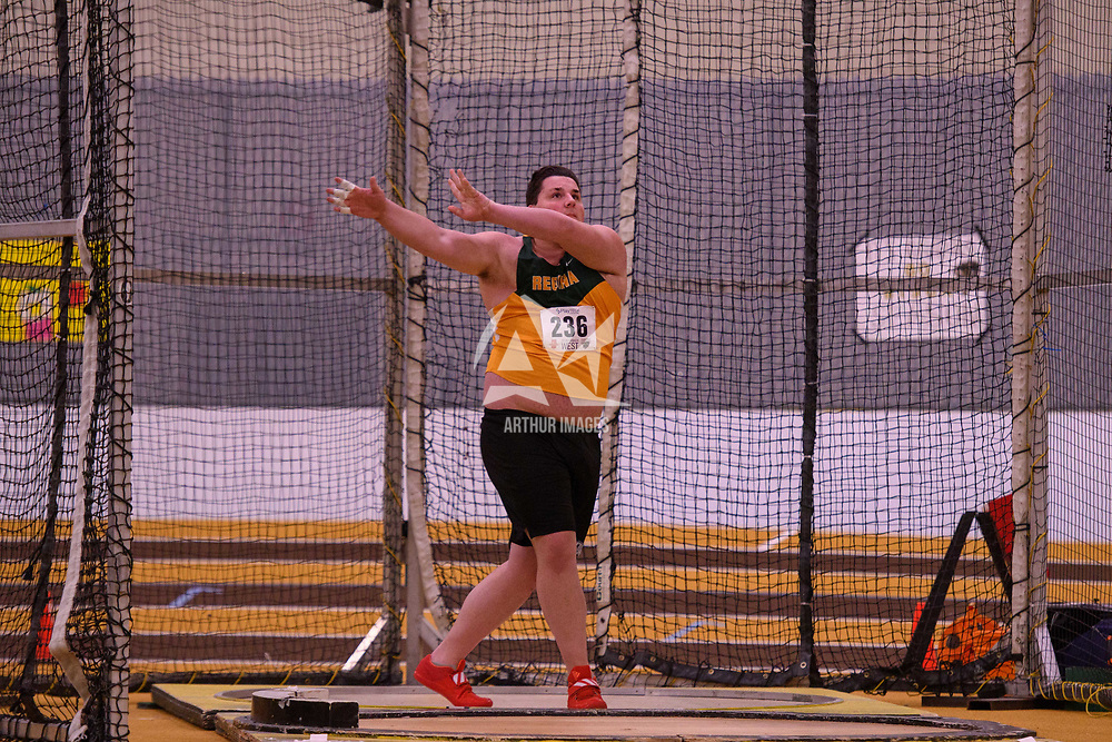Dustin Todd in action during the 2018 Canada West Track & Field Championship on February  23 at James Daly Fieldhouse. Credit: Arthur Ward/Arthur Images