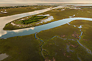 Aerial view of the salt marsh at Sullivan's Island, SC.