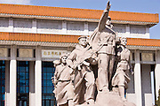 Statue to celebrate the navy, army, airforce and workers outside Mao's Mausoleum, Tian'an Men Square, China