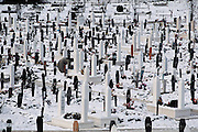 Cemetery on the grounds of the Olympic Stadium complex in Sarajevo, the site of the 1984 winter Olympics. A large portion of the athletic fields have become graveyards for the people killed during the siege of Sarajevo. From coverage of revisit to Material World Project family in Sarajevo, Bosnia & Herzegovina, 2001.  ©2005 Hungry Planet: What the World Eats
