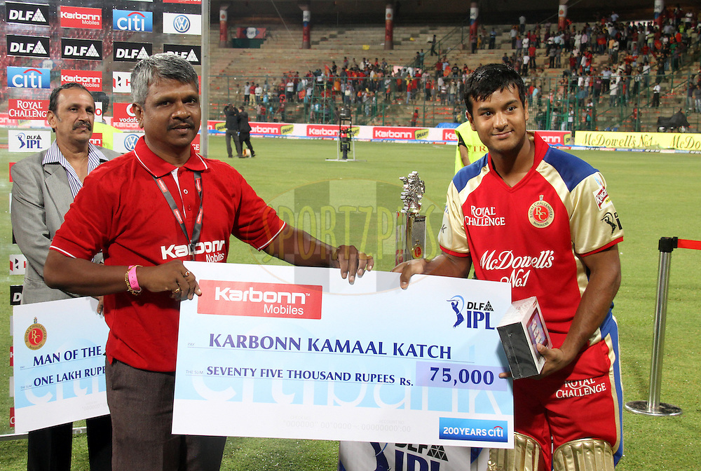 Mayank Agarwal receives Karbonn Kammal Katch for  match 21 of the the Indian Premier League ( IPL) 2012  between The Royal Challengers Bangalore and the Pune Warriors India held at the M. Chinnaswamy Stadium, Bengaluru on the 17th April 2012..Photo by Prashant Bhoot/IPL/SPORTZPICS