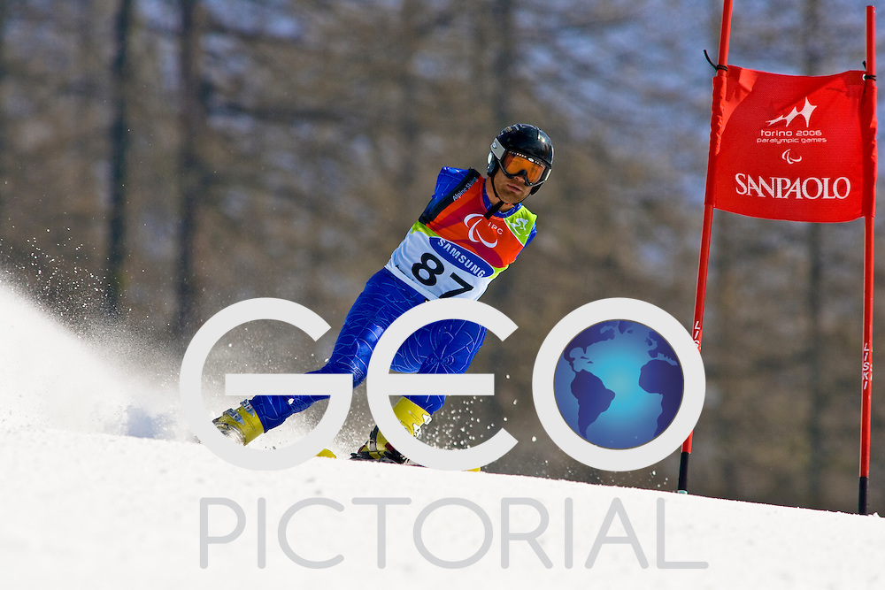 SESTRIERE COLLE, ITALY - MARCH  16th : Mher Avanesyan (LW5/7-1) of Armenia on his second run of the Mens Alpine Skiing Giant Slalom Standing competition on Day 6 of the 2006 Turin Winter Paralympic Games on March 16th, 2006 in Sestriere Borgata, Italy.