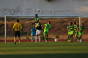 Forest Green Rovers Manny Monthe(6) heads the ball clear during the Pre-Season Friendly match between SC Farense and Forest Green Rovers at Estadio Municipal de Albufeira, Albufeira, Portugal on 25 July 2017. Photo by Shane Healey.