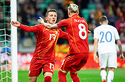 Enis Bardi of Macedonia and Egzijan Alioski of Macedonia celebrate after scoring first goal during football match between National teams of Slovenia and North Macedonia in Group G of UEFA Euro 2020 qualifications, on March 24, 2019 in SRC Stozice, Ljubljana, Slovenia. Photo by Vid Ponikvar / Sportida