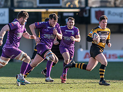 Newports' Matt O'Brien brakes away.<br /> <br /> Photographer Simon Latham/Replay Images<br /> <br /> Principality Premiership - Newport v Ebbw Vale - Sunday 4th February 2018 - Rodney Parade - Newport<br /> <br /> World Copyright © Replay Images . All rights reserved. info@replayimages.co.uk - http://replayimages.co.uk