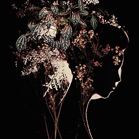 silhouette of backlit woman and flowers