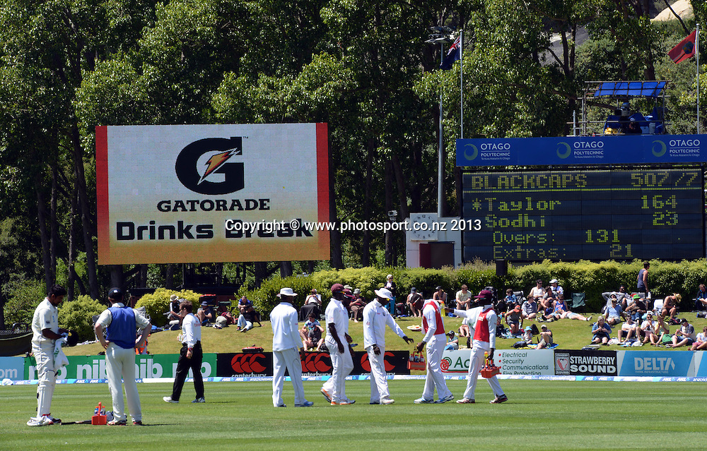 Signage and general view on Day 2 of the 1st cricket test match of the ANZ Test Series. New Zealand Black Caps v West Indies at University Oval in Dunedin. Wednesday 4 December 2013. Photo: Andrew Cornaga/www.Photosport.co.nz