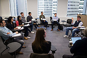 Northwestern University's Kellogg School of Management students listen to a discussion panel during class at the San Francisco campus in San Francisco, California, on March 3, 2017. (Stan Olszewski/SOSKIphoto)