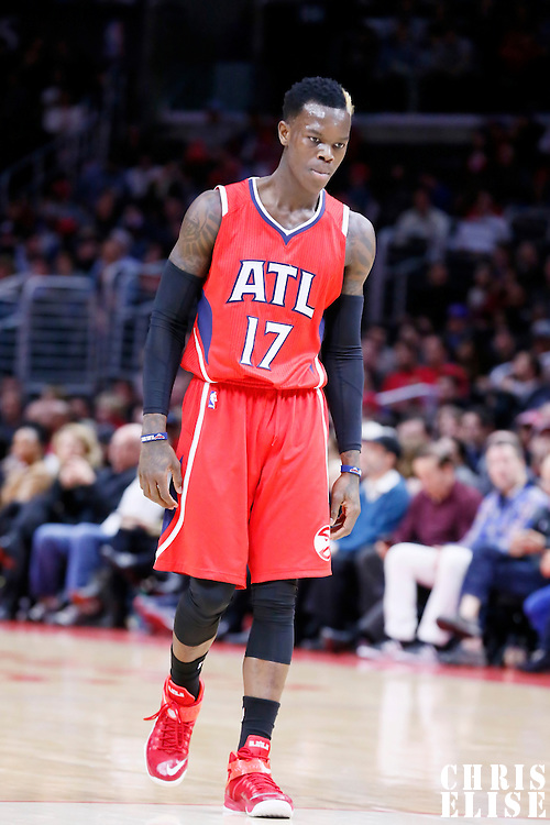 05 January 2014: Atlanta Hawks guard Dennis Schroder (17) rests during the Atlanta Hawks 107-98 victory over the Los Angeles Clippers, at the Staples Center, Los Angeles, California, USA.