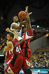 Jan 23, 2010; Columbia, MO, USA; Missouri Tigers guard Miguel Paul (3) goes up for a shot as Nebraska Cornhuskers forward Quincy Hankins-Cole (23) attempts to block in the second half at Mizzou Arena in Columbia, MO. Missouri won 70-53. Mandatory Credit: Denny Medley-US PRESSWIRE