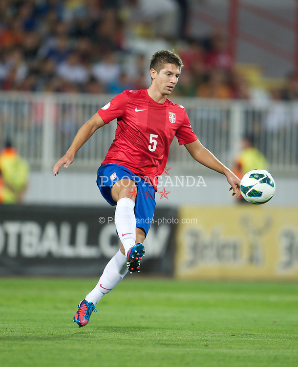 NOVI SAD, SERBIA - Tuesday, September 11, 2012: Serbia's Matija Nastasic in action against Wales during the 2014 FIFA World Cup Brazil Qualifying Group A match at the Karadorde Stadium. (Pic by David Rawcliffe/Propaganda)