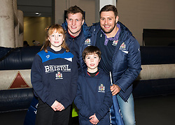 Jack O'Connell and Nick Haining of Bristol Rugby pose with supporters - Mandatory by-line: Paul Knight/JMP - 22/12/2017 - RUGBY - Ashton Gate Stadium - Bristol, England - Bristol Rugby v Cornish Pirates - Greene King IPA Championship