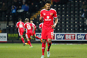 Jordan Spence celebrates going ahead during the Sky Bet League 1 match between Notts County and Milton Keynes Dons at Meadow Lane, Nottingham, England on 26 December 2014. Photo by Jodie Minter.