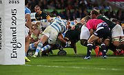 Another South African attack near to the Argentina try line during the Rugby World Cup Bronze Final match between South Africa and Argentina at the Queen Elizabeth II Olympic Park, London, United Kingdom on 30 October 2015. Photo by Matthew Redman.