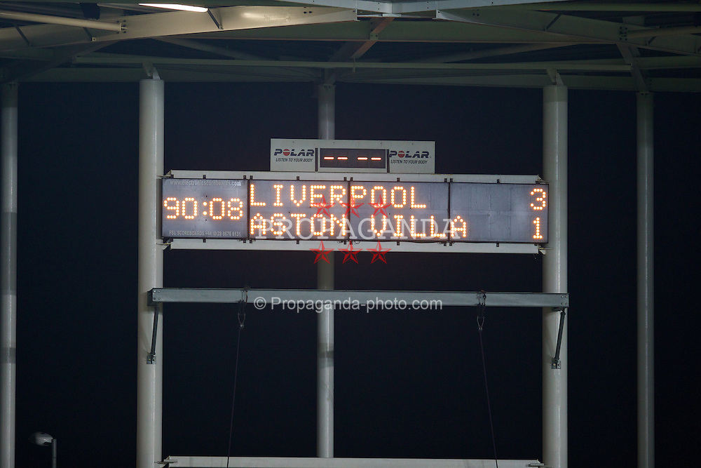 ST. HELENS, ENGLAND - Wednesday, January 15, 2014: The scoreboard records Liverpool's 3-1 victory over Aston Villa during the FA Youth Cup 4th Round match at Langtree Park. (Pic by David Rawcliffe/Propaganda)