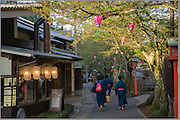 Kinosaki is a charming traditional town renowned for it's numerous onsen (Hot springs). In the evenings guests of the local ryokan (traditional Japanese inn) stroll about town in yukata robots and geta (wooden clogs), visiting the numerous onsen (public baths)
