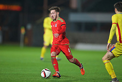 WREXHAM, WALES - Tuesday, November 17, 2015: Wales' Joshua Sheehan in action against Romania during the UEFA Under-21 Championship Qualifying Group 5 match at the Racecourse Ground. (Pic by David Rawcliffe/Propaganda)