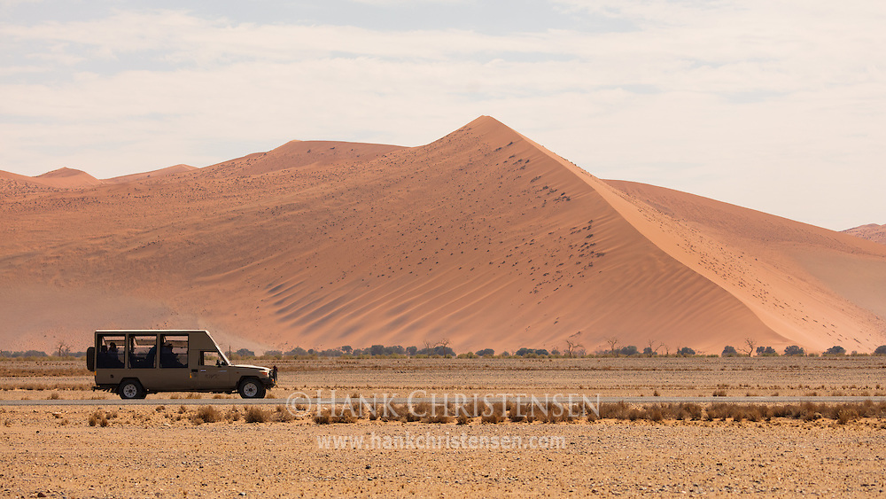 A safari vehicle drives in front of a thousand foot dune, Namib-Naukluft National Park, Namibia.