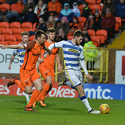 Jack Iredale (Morton) scores Morton's third goal during the Scottish Championship match between Dundee United and Greenock Morton at Tannadice, which the visitors won.<br /> <br /> (c) Dave Johnston | sportPix.org.uk