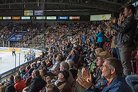 KELOWNA, CANADA - JANUARY 22: Fans celebrate a goal for the Kelowna Rockets against the Tri City Americans on January 22, 2016 at Prospera Place in Kelowna, British Columbia, Canada.  (Photo by Marissa Baecker/Shoot the Breeze)  *** Local Caption ***