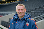 Brentford manager Dean Smith during the Sky Bet Championship match between Milton Keynes Dons and Brentford at stadium:mk, Milton Keynes, England on 23 April 2016. Photo by Dennis Goodwin.