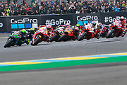 #93 Marc Marquez, Spanish: Repsol Honda Team leads from #21 Franco Marbidelli, Italian: Petronas Yamaha SRT during racing on the Bugatti Circuit at Le Mans, Le Mans, France on 19 May 2019.
