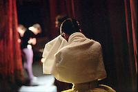 Miyako Yoshida waiting for her curtain call after Scenes de Ballet. Bolshoi Theatre, Russia