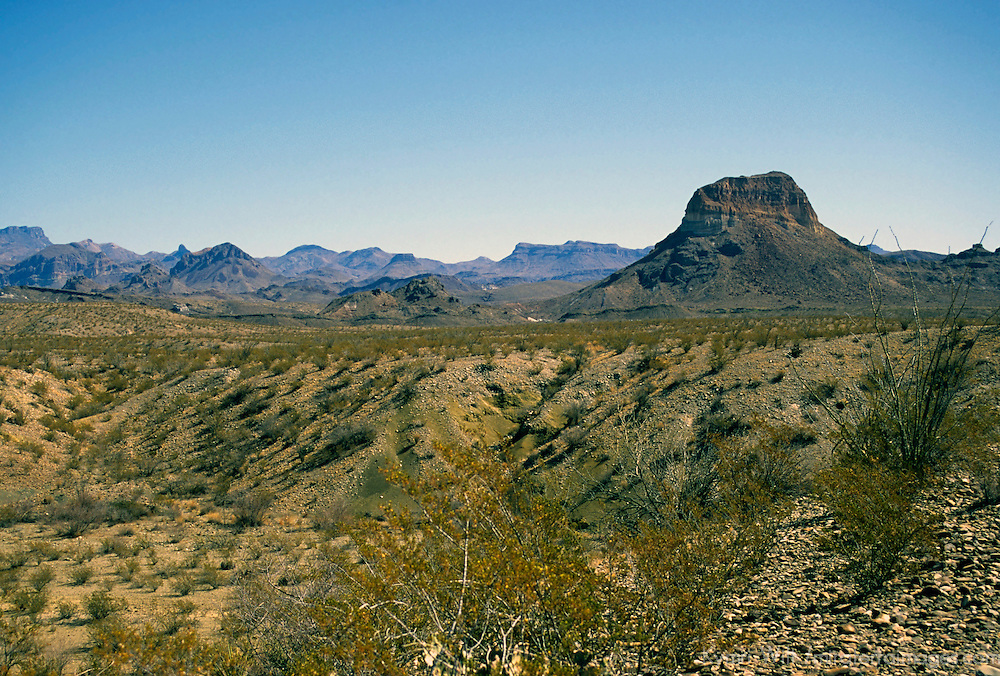 USA, Texas, Big Bend National Park. Scenic landscape of the Big Bend National Park, the largest and also the least visted of the U.S. National Parks.