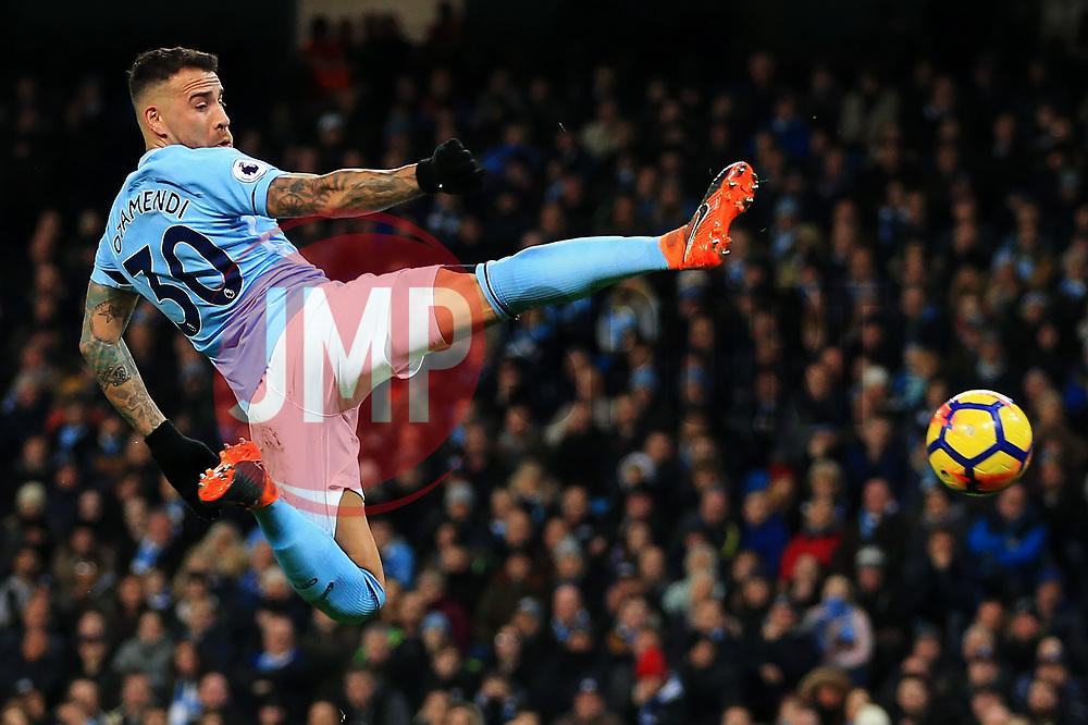 Nicolas Otamendi of Manchester City stretches to reach a cross - Mandatory by-line: Matt McNulty/JMP - 10/02/2018 - FOOTBALL - Etihad Stadium - Manchester, England - Manchester City v Leicester City - Premier League