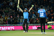 Ben Cox of Worcestershire Rapids celebrates hitting the winning runs during the final of the Vitality T20 Finals Day 2018 match between Worcestershire Rapids and Sussex Sharks at Edgbaston, Birmingham, United Kingdom on 15 September 2018.