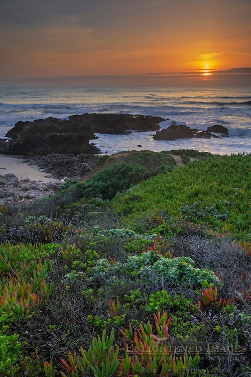 Sunset over the Pacific Ocean from Pescadero State Beach, San Mateo County Coast, Caliifornia