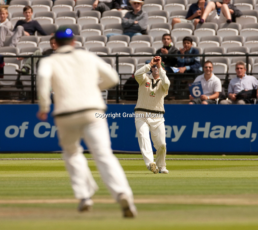 Michael Hussey catches Mohammad Aamer during the MCC Spirit of Cricket Test Match between Pakistan and Australia at Lord's.  Photo: Graham Morris (Tel: +44(0)20 8969 4192 Email: sales@cricketpix.com) 16/07/10