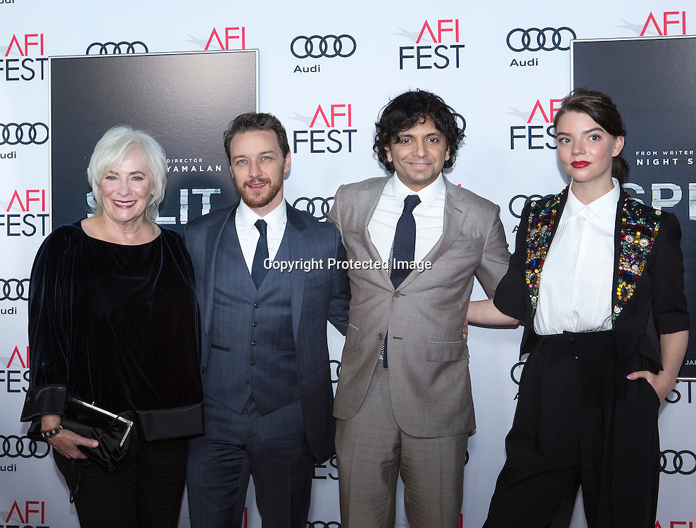 Actress Betty Buckley (L), producer Jason Blum (L), director, writer, producer M Night Shyamalan (R) and actress Anya Taylor-Joy (R) attend Split premiere at AFI Fest at TCL Chinease Theatre in Hollywood, CA on November 15th